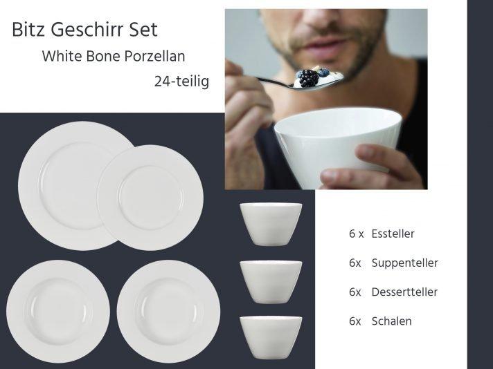 24 Teilige Geschirr Set Weiß Aus Fine Bone China Porzellan