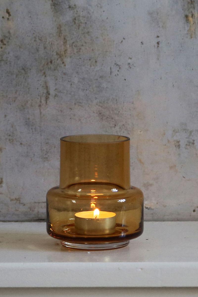 Kleines Teelicht bzw. Windlicht No. 25 amber