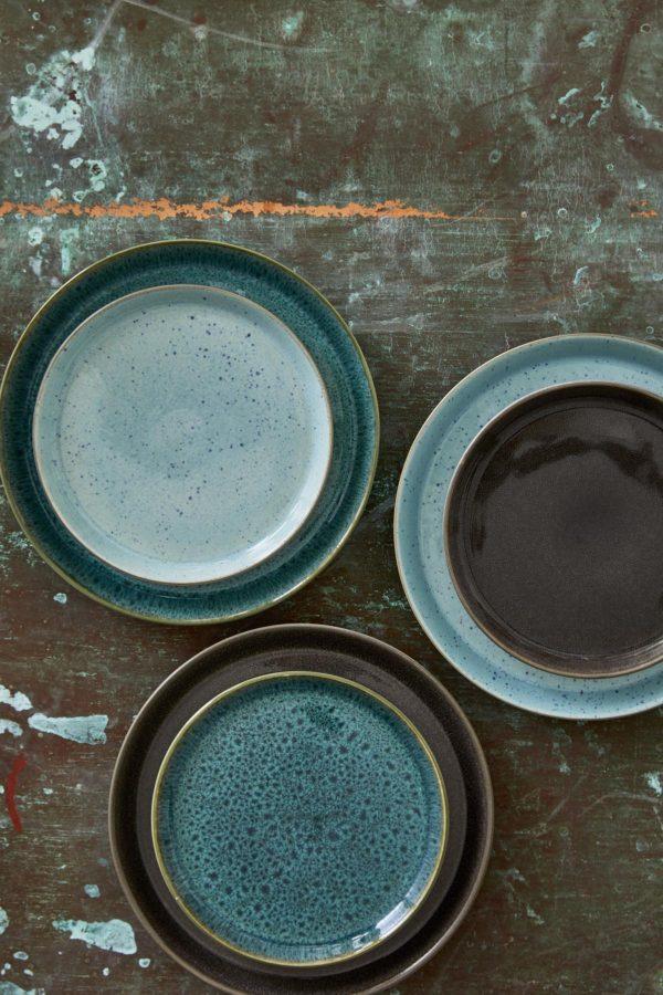 zweifarbige Ess-und Kuchenteller hellblau und grün