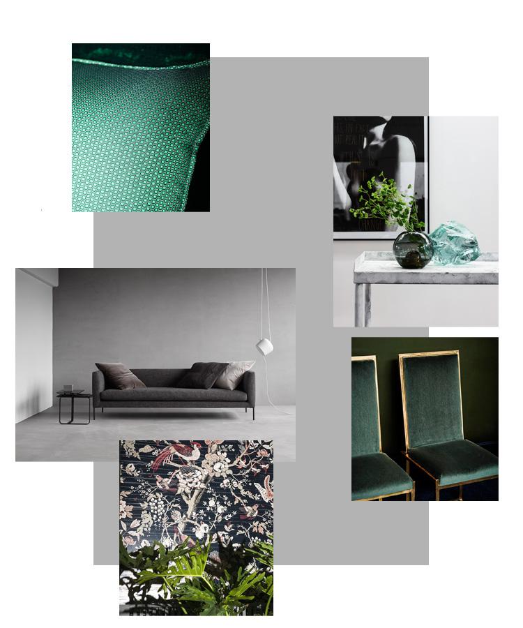 Möbel und Stoffe in Schwarz und Grün Mood
