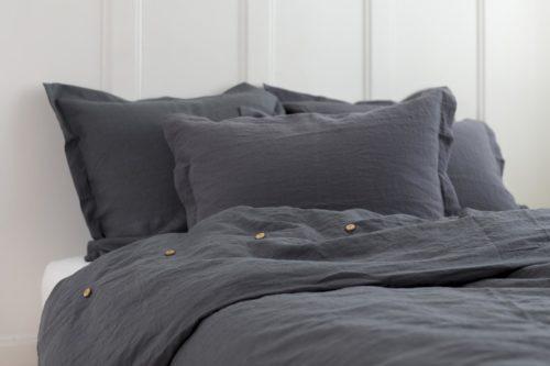 Bettbezug Leinen grau-blau Geismars