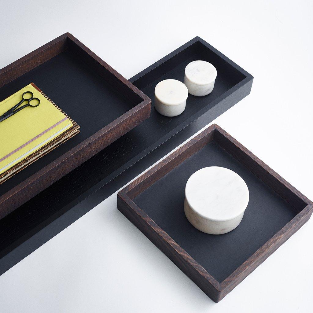 Tablett aus geräuchertem Eichenholz Büro