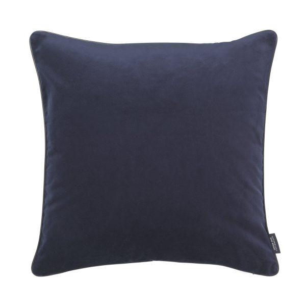 Piping Kissen dunkelblau aus Samt