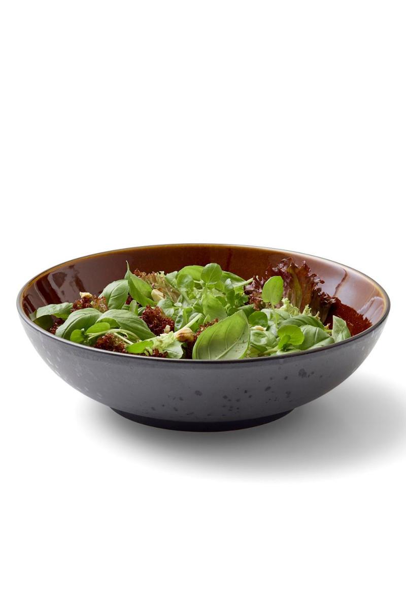 Steingut Geschirr kleine Pasta Teller / Salatschüsseln 24 cm Christian Bitz amber