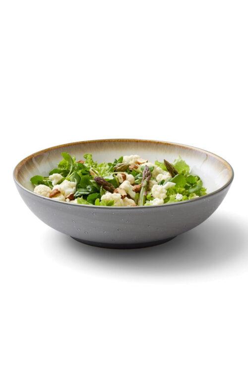 Steingut Geschirr kleine Pasta Teller / Salatschüsseln 24 cm Christian Bitz creme