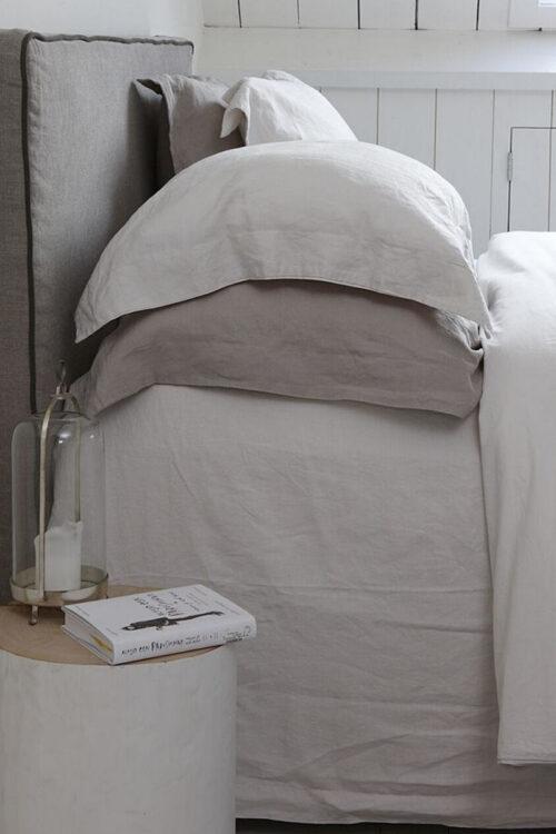 Textilien - Bettwäsche - Bettbezug aus Leinen und Perkal Baumwolle - Bettlaken aus 100% Leinen