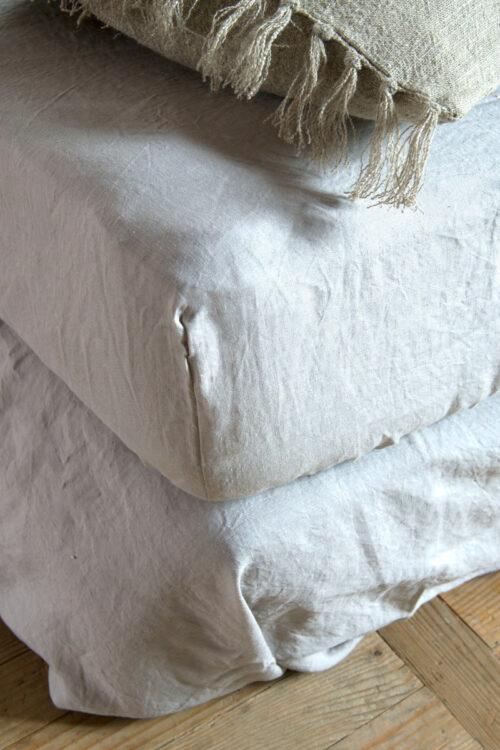 Textilien - Bettwäsche - Spannbettlaken aus gewaschenem Leinen