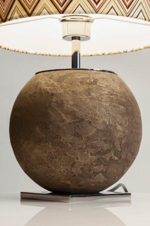 """Manufaktur - Tischleuchte """"The Spehre x Missoni"""" von Craftvoll aus Edelstahl mit Missoni Lampenschirm- ein Hommage ans Detail"""